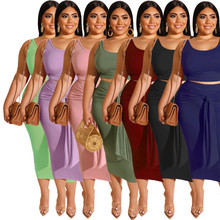 Summer 2 Piece Outfits for Women Sleeveless Crop Top and Ski