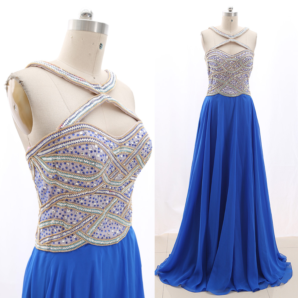 MACloth Blue Sheath Halter Floor-Length Long Crystal Tulle   Prom     Dresses     Dress   M 267338 Clearance