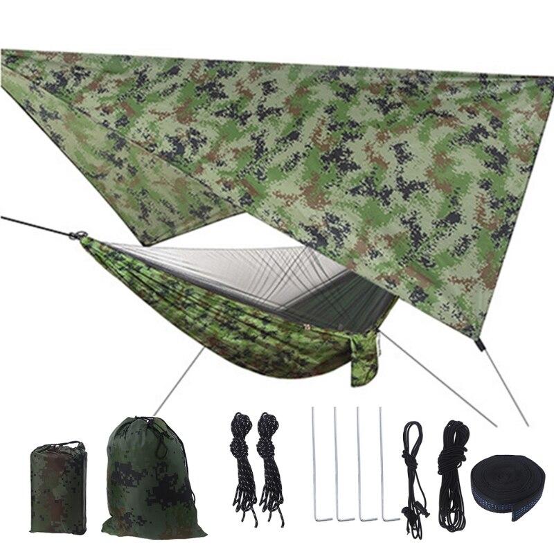 T21D Camping Hammock with Net and Tarp Rain Cover and Tree Straps 200kg Load Capacity 290 x 140 cm Nylon Double Hammock