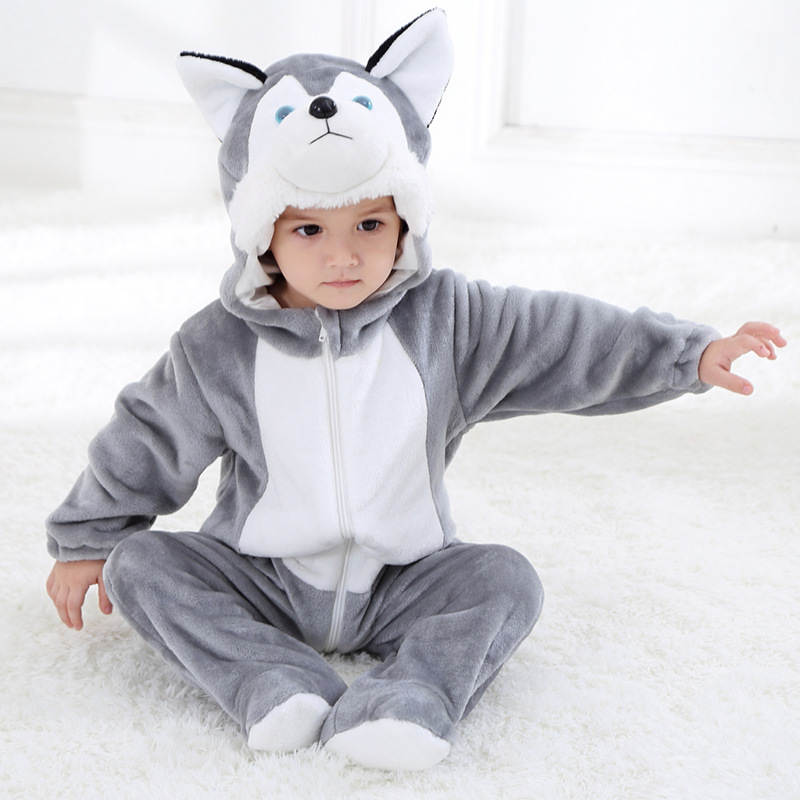 Spring New Style Childrenswear Flannel Small Greyhound Modeling One-piece Romper Crawling Clothes Single Layer Tolo Rabbit Child