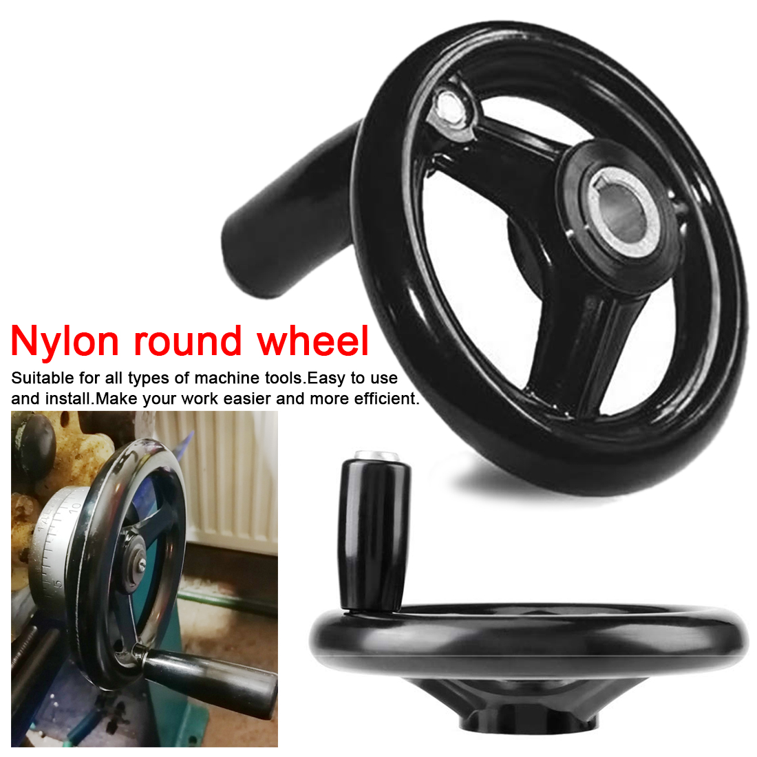 100/125/160/200/250mm Black Milling Machine Lathe CNC 3D Printer Spoked Hand Wheel Wavy Round Bakelite Three Handwheel