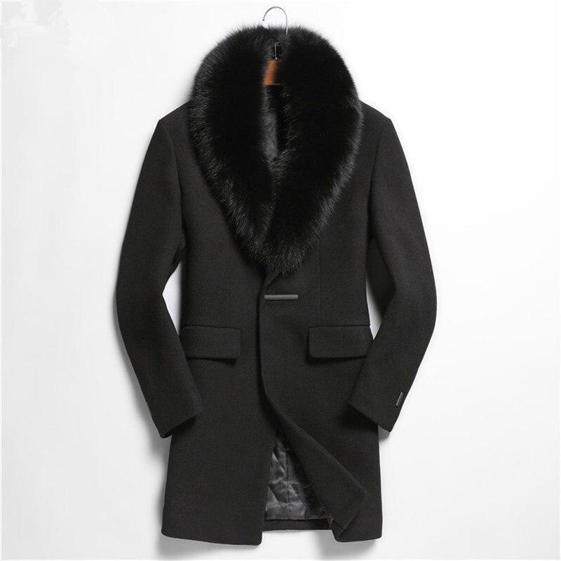 Autumn Winter Jacket Men Top Qulity Wool Coat 100%Real Fox Fur Collar Overcoat Abrigo De Lana Hombre M2988 MF629
