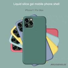 Жидкий силиконовый чехол для iphone 11 pro max X XS XR для iphone 6 7 8 Plus Мягкий тонкий полное покрытие 9-цвет чехол s