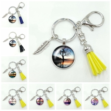 2020 New Retro Style Landscape and Tree Series Pattern Glass Cabochon Alloy Tassel Keychain Fashion Jewelry Gift