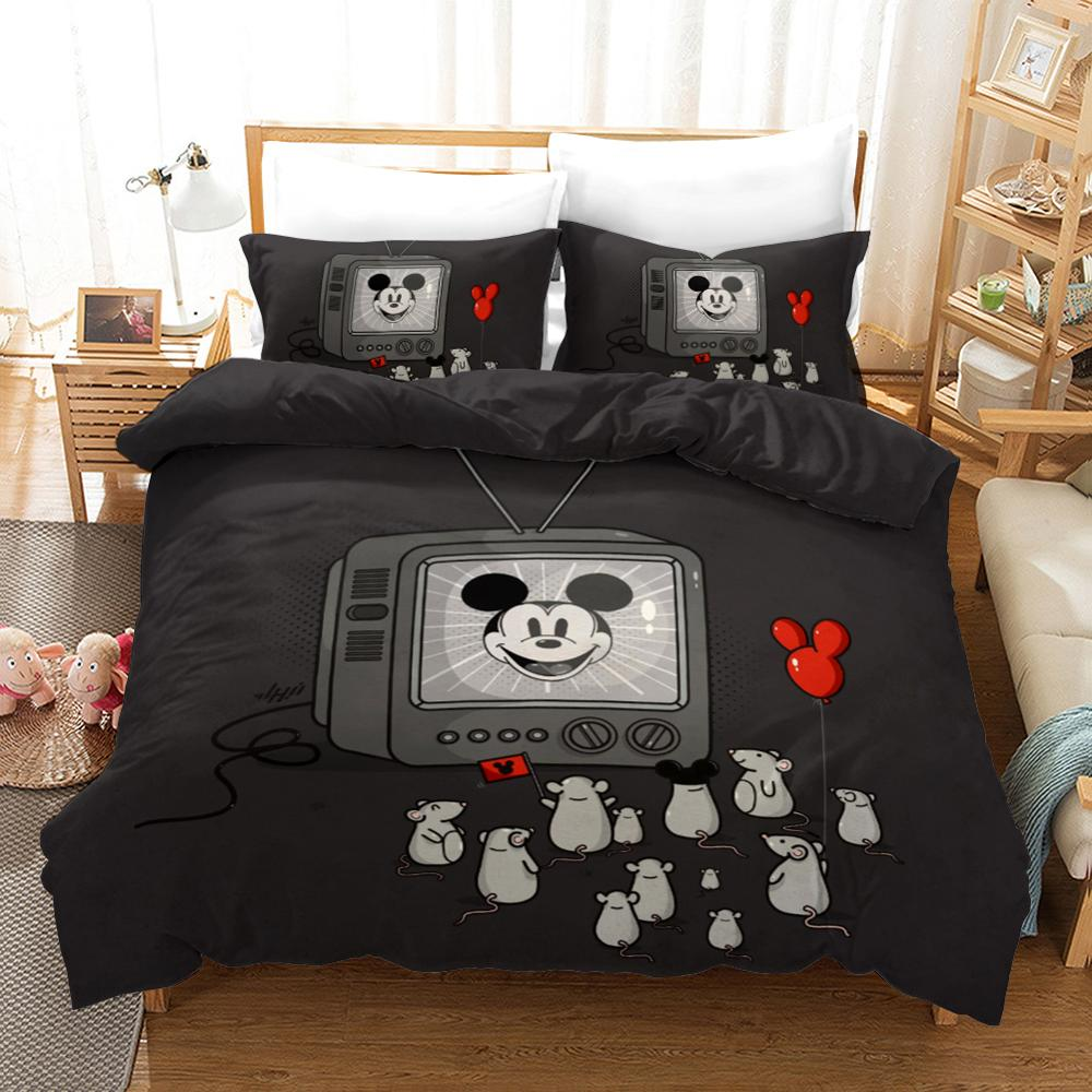 Cute Design Mickey Mouse Bedding Sets Twin Size Quilt Duvet Cover For Kids Bedroom Decor Boy's Bedspread Queen King 3 Pcs Black