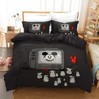 Cute Design Mickey Mouse Bedding Sets Twin Size Quilt Duvet Cover for Kids Bedroom Decor Boy's Bedspread Queen King 3 pcs Black|Bedding Sets| |  -
