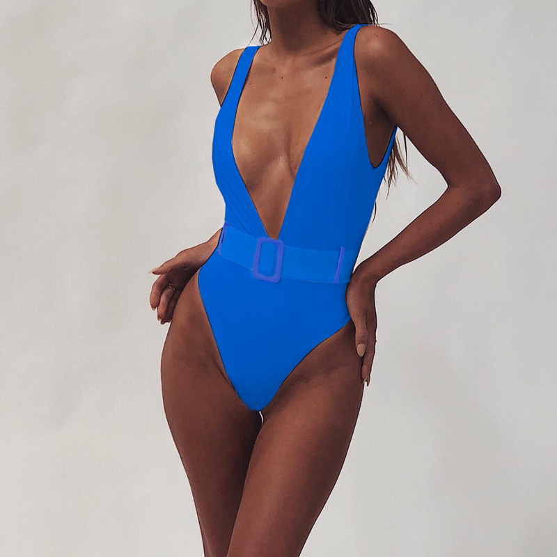 High Cut Swimwear Women 2019 Solid One Piece Swimsuit Female High Waist Monokini V-Neck Sexy Bathing Suit Swim Suit Black Red