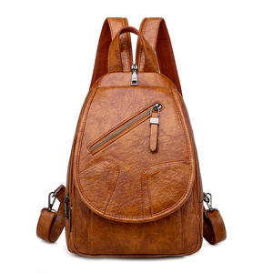 Image 1 - 2020 Women Leather Backpacks High Quality Luxury Designer Bagpack Ladies Sac A Dos Female Pack Rucksacks For Girls Solid Travel