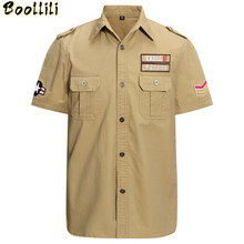 Plus Size M-4XL Summer men's casual brand short sleeve shirt man pure cotton khaki shirts army green clothing(China)