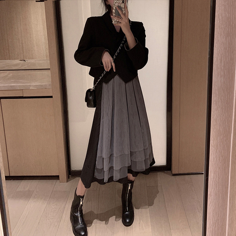 2019 New Style Autumn Retro Fashion Small Suit WOMEN'S Suit Elegant Slimming Western Style Gauze Strapped Dress Two-Piece Set