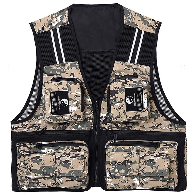 Fishing Waistcoat Sleeveless Mesh Fishing Jacket Multi Pockets Breathable Photography Hunting Fishing Climbing Vest Digital Camo|Fishing Vests| |  - title=