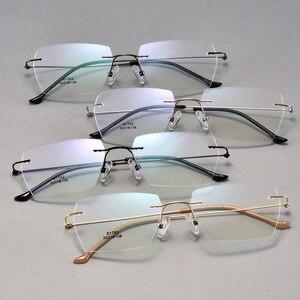 Image 2 - Männer Rechteckigen Rimeless Brillen Rahmen Leichte Klare Linse Optische Brillen Ultra Leichte Leser für Männer Frauen