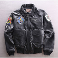 Genuine Men Air Force Flight Suit Cowhide Bomber Jacket Short Motorcycle Biker Real Leather Coat Male