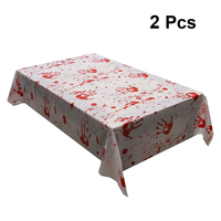 2pcs Halloween Bloodstained Tablecloths Interior Decoration Props Party Supplies For Haunted House Chamber Scene Layout Props