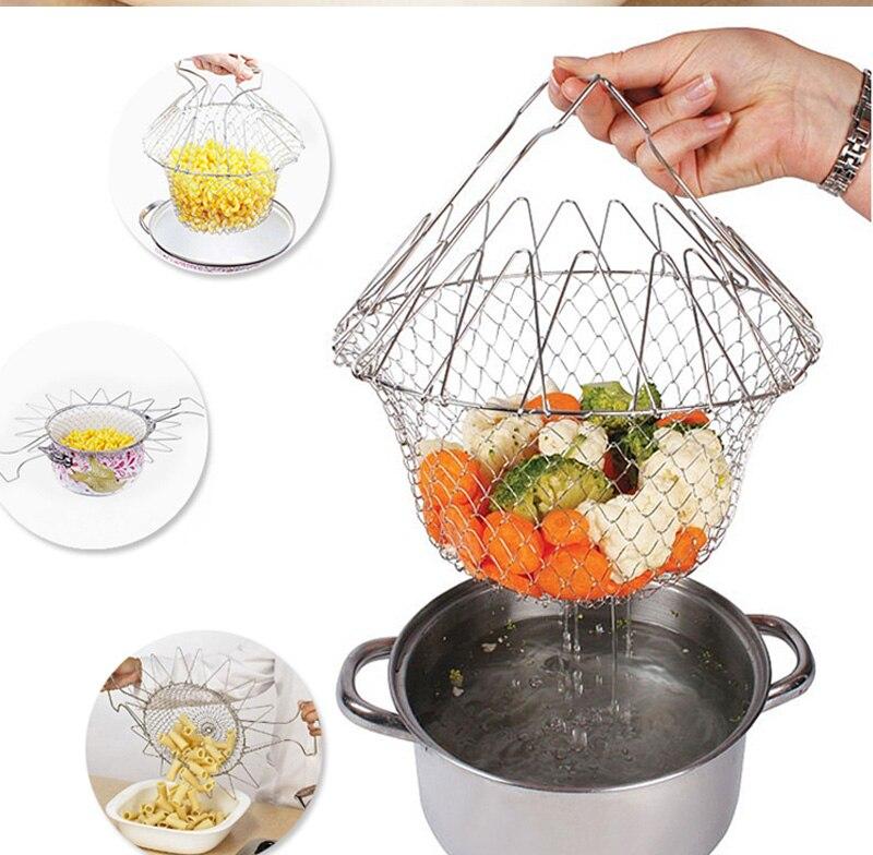 Panier pliable en maille accessoires de cuisine   Panier de Chef, passoire repliable à la vapeur, filtre à frire, outil de cuisine Passoires et chinois    - AliExpress
