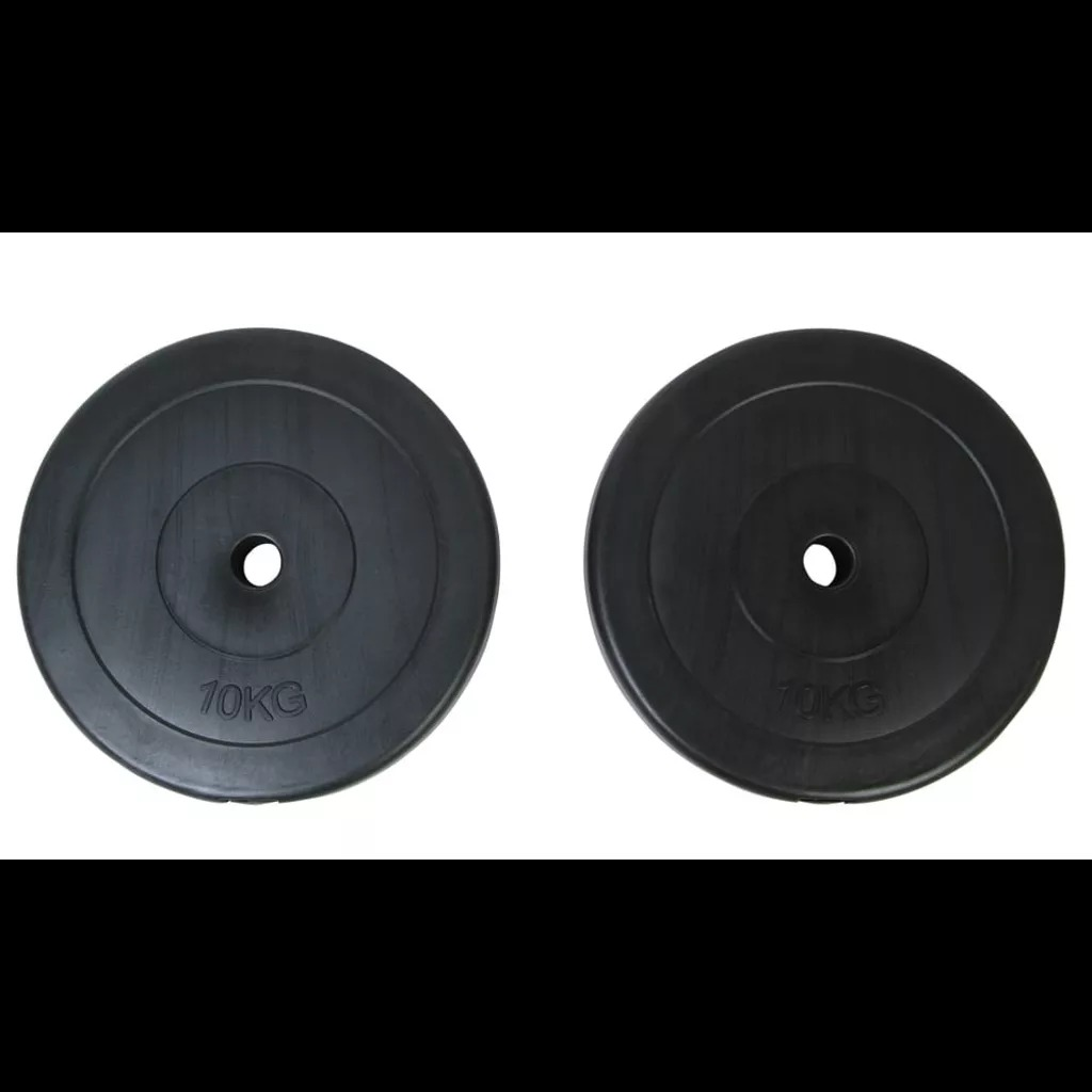 VidaXL Weight Plates 2 X 10 Kg Covered With Robust Floor-Friendly Plastic Suitable For All Your Professional Weight-Training