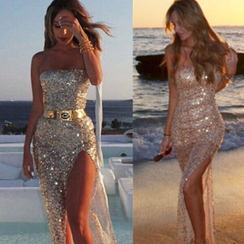 Elegant Sexy Dress Sequined Ladies Split Wrapped Chest Bra Hot Sequin Strapless Sexy & Club Off the