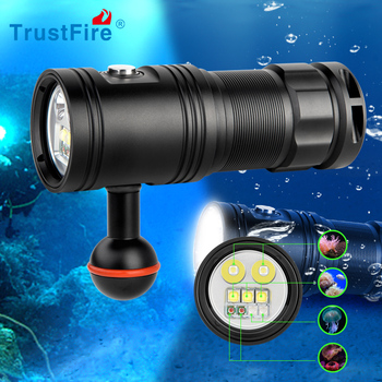 Trustfire DF30 Diving Video LED Torch Flashlight 4 Color Photo Underwater Lamp Dim function 32650 Battery torch Scuba