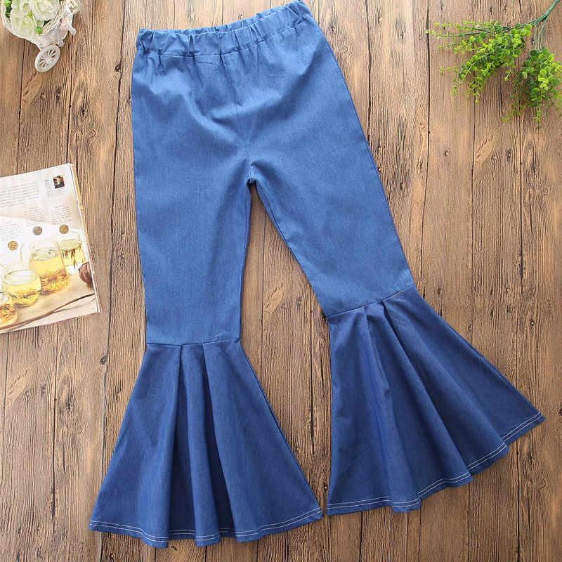 Pudcoco Anak-anak Balita Bayi Gadis Denim Flare Celana Panjang Bell Bottoms Fashion Anak Gadis Celana 1-6Y