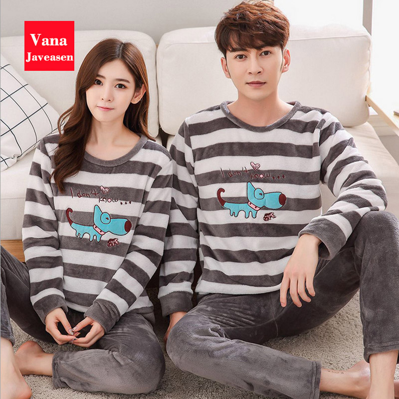 Vana Javeasen Autumn Winter Flannel Couple Pajamas Set O-Neck Plus Size Home Pajamas 2PCS Casual Women Men Sleepwear Nightwear