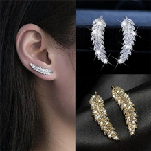 1Pair Gorgeous Feather Ear Climbers Cuff Earrings Crystal Diamonden Le