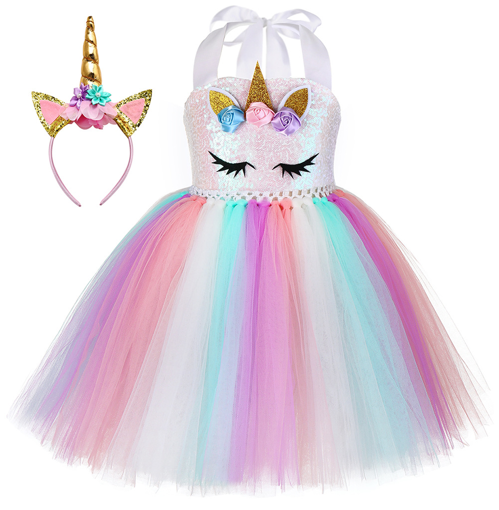 Pastel Girls Unicorn Princess Tutu Dress Girl Masquerade Birthday Party Dress Children Purim Halloween Cosplay Costume 2-12Years