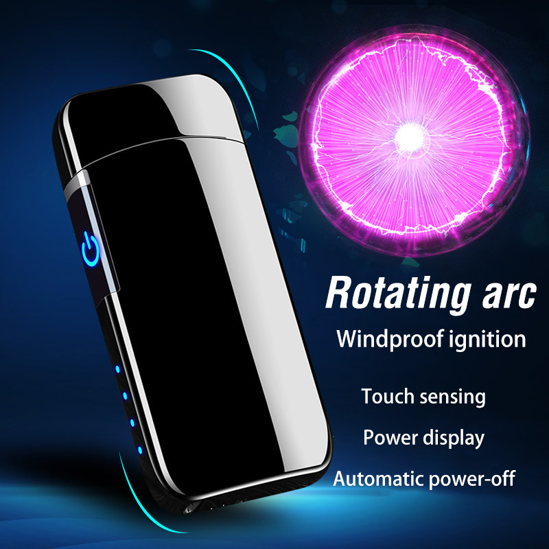 2020 Hot Rotate USB Electronic Lighter Rotating Arc Induction Electric Plasma Lighters Windproof Cigarette Lighter Gifts For Men