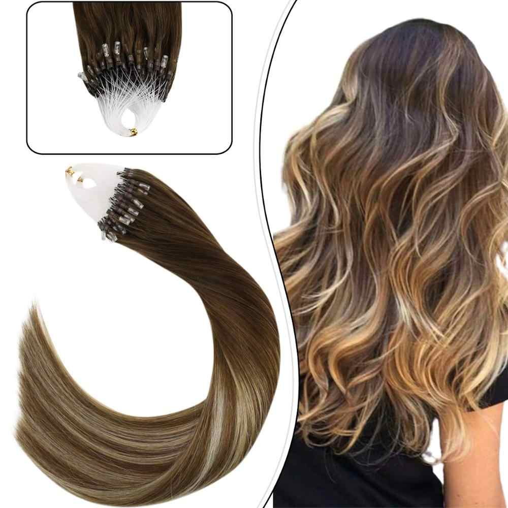 "Ugeat Micro Loop Human Hair Extensions 14-24"" Machine Remy Hair Balayage Brown #4/6/613 Micro Ring Hair Extension 1g/1strand Set"