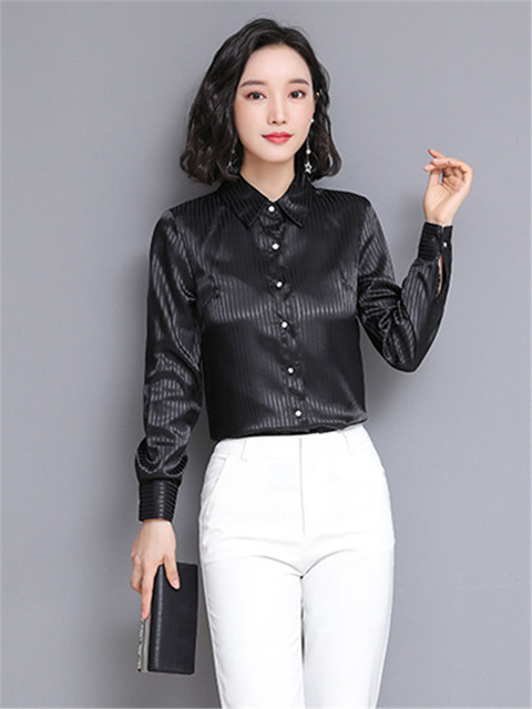 Chikichi 2021 Spring New Ladies Satin Women Shirt Long-sleeved Solid Color Striped Fashion Office Ladies Blouse Plus Size 4XL 6
