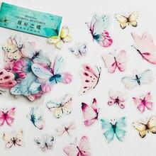 40 pçs/saco gradiente rosa verde borboleta pvc adesivo decorativo diy artesanato notebook decoração