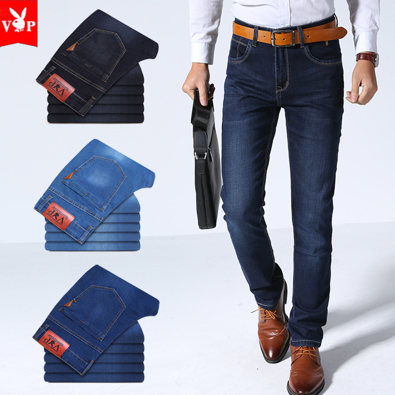 2018 Four Seasons High Quality Men's Business Straight Slim Cowboy Trousers Medium Waist Casual Jeans Men's
