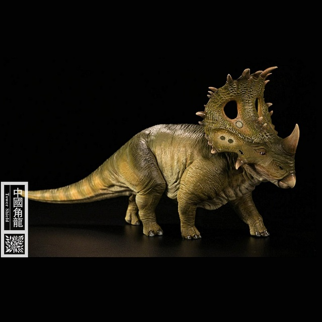 1:35 Nanmu Turm Schild Dinosaurier Sinoceratops Tier Figur Spielzeug Für Jungen Sammlung Grün Farbe Version