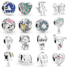 NEUE 2019 100% 925 Sterling Silber Frühling Magie Teppich Fahrt Schmetterling Roboter Herz Geformt Blume Charme Fit Diy Armband Original