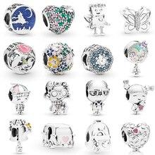 Pulseira 2019 prata sterling 100%, bracelete mágico borboleta robô coração em formato de flor