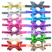 Colorful Baby 1cm Nylon Elastic Headbands Hair bands with Sequin Glitter Bow Knot Infant Hairbow Girls Hair Accessories 120pcs