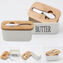 Dreamburgh коробка для масла, керамический контейнер для хранения, поднос для сыра, еды, инструмент для кухни, хранитель, деревянная крышка, уплотнительная пластина+ нож