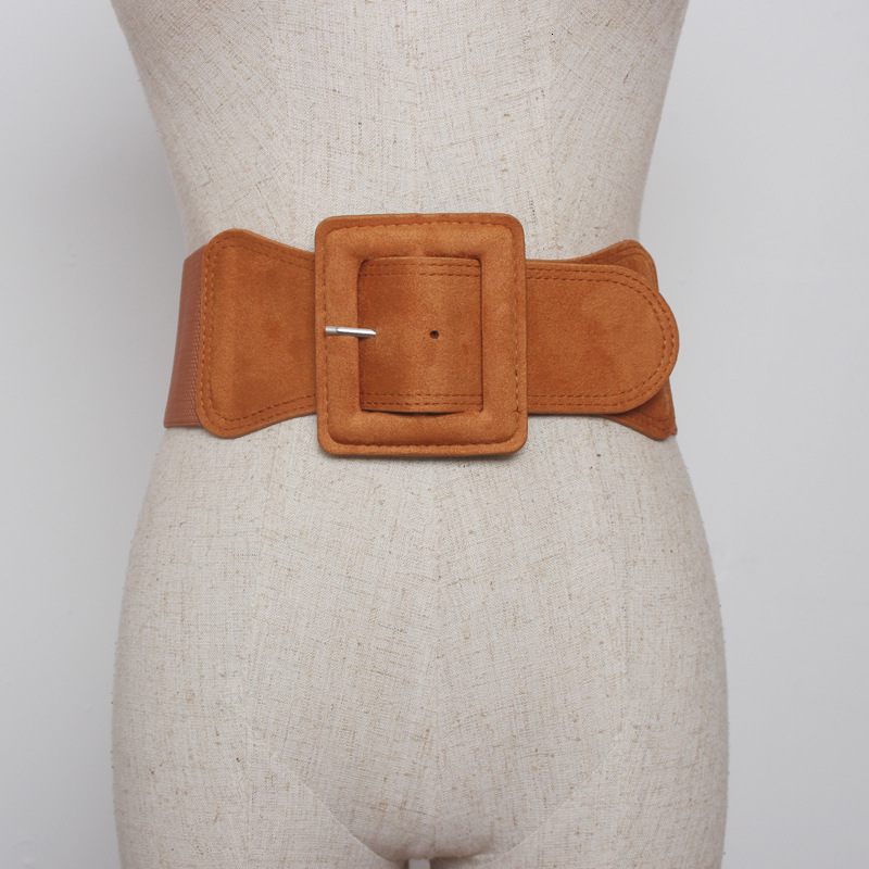 2020 New Spring Design Fashion Corset Belt For Women Solid Square Button Suede Wide Girdle Female Leopard Print Waistband ZK078