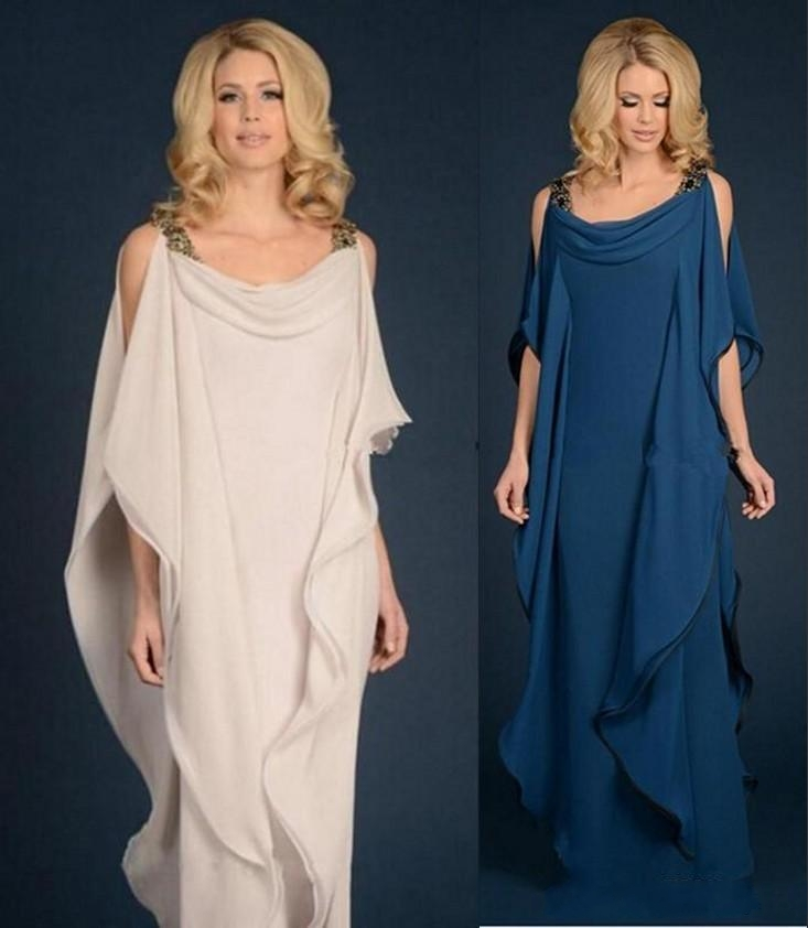 New Champagne Navy Blue Mother Of The Bride Dresses Chiffon Wedding Plus Size Ruffles Flowing Sheath Mother Groom Dress