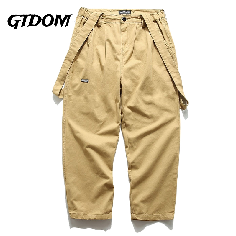 GTDOM Casual Japan Style Overalls Straight Pants For Men Patchwork Elastic Waist Trouser 2021 Spring Solid Color Oversize Pants
