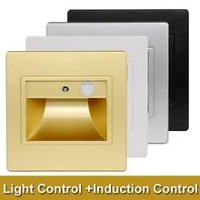 Işık + PIR hareket sensörü duvar gömme Led merdiven lambası kapalı adım merdiven Led duvar aplik merdiven aydınlatma