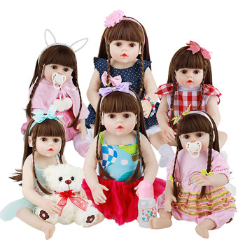 48CM Reborn Baby Doll Soft Silicone Reborn Boneca Menina Dolls Full Body Silicone Dolls Lifelike Realistic Bath Toy For Kids 48cm reborn baby doll toddler girl pink princess soft full body silicone babies dolls lifelike realistic bonecas toys for kids