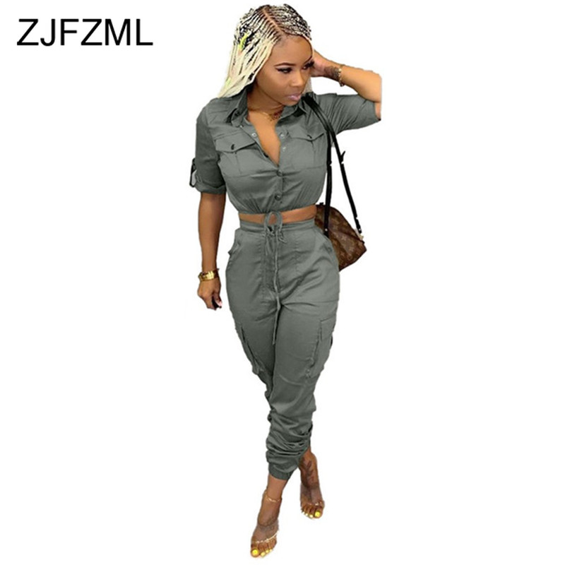 Sexy Two Piece Summer Clothes For Women Turn-down Collar Short Sleeve Buttons Up Crop Top + Pockets Cargo Pants 2 Piece Outfits
