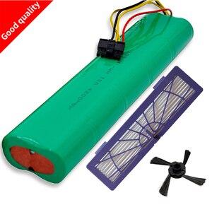 3 sztuk filtr HEPA + szczotka boczna + akumulator 4500mAh 12V Ni-MH Cleaner akumulator do Neato BotVac 70e 75 80 85 D75 D85 odkurzacze