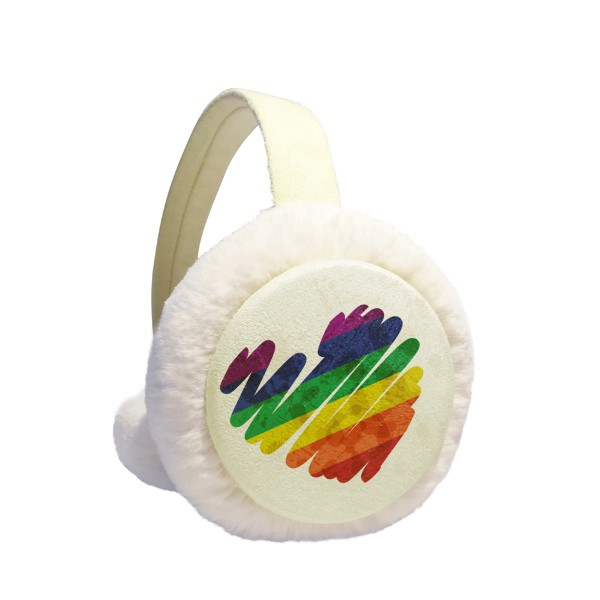 Painting Heart LGBT Rainbow Winter Earmuffs Ear Warmers Faux Fur Foldable Plush Outdoor Gift
