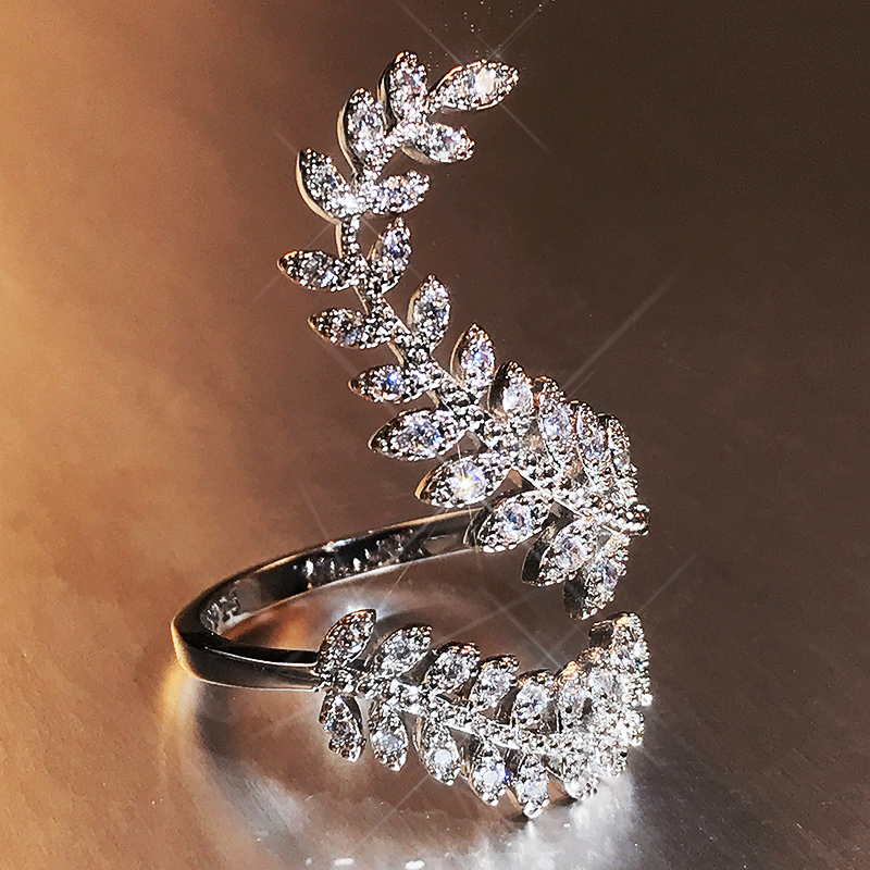 Huitan Graceful Leaves Both End of Open Ring Silver Color Girl Cocktail Party Rings Shine Crystal Zircon Fashion Women Jewelry