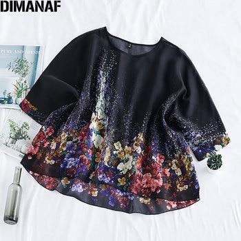 DIMANAF Summer Plus Size Women Blouse Shirt Elegant Sexy Lady Tops Tunic Chiffon Floral Print Thin Oversize Female Clothes 2020 цена 2017
