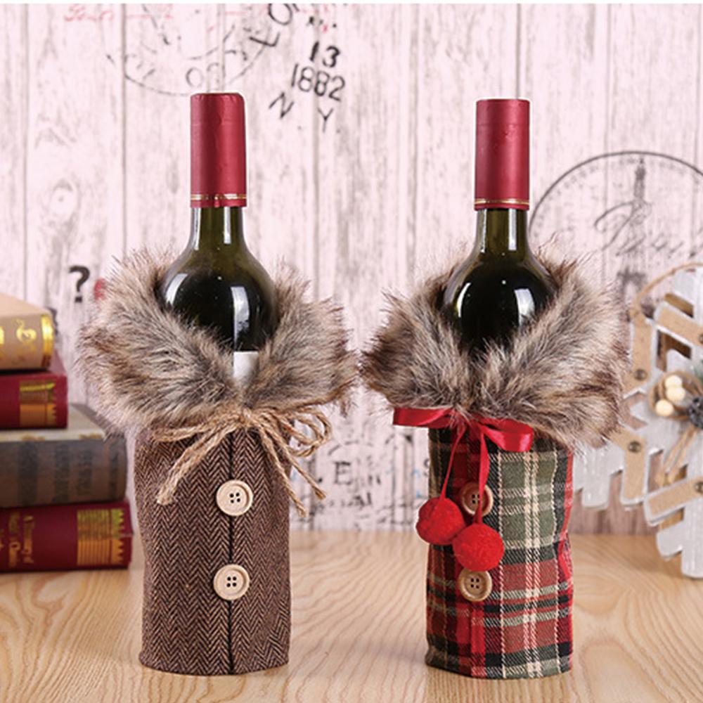 Useful Santa Claus Wine Bottle Cover Christmas Decorations For Home New Year Xmas Decor Red Wine Bottle Covers Christmas Decor