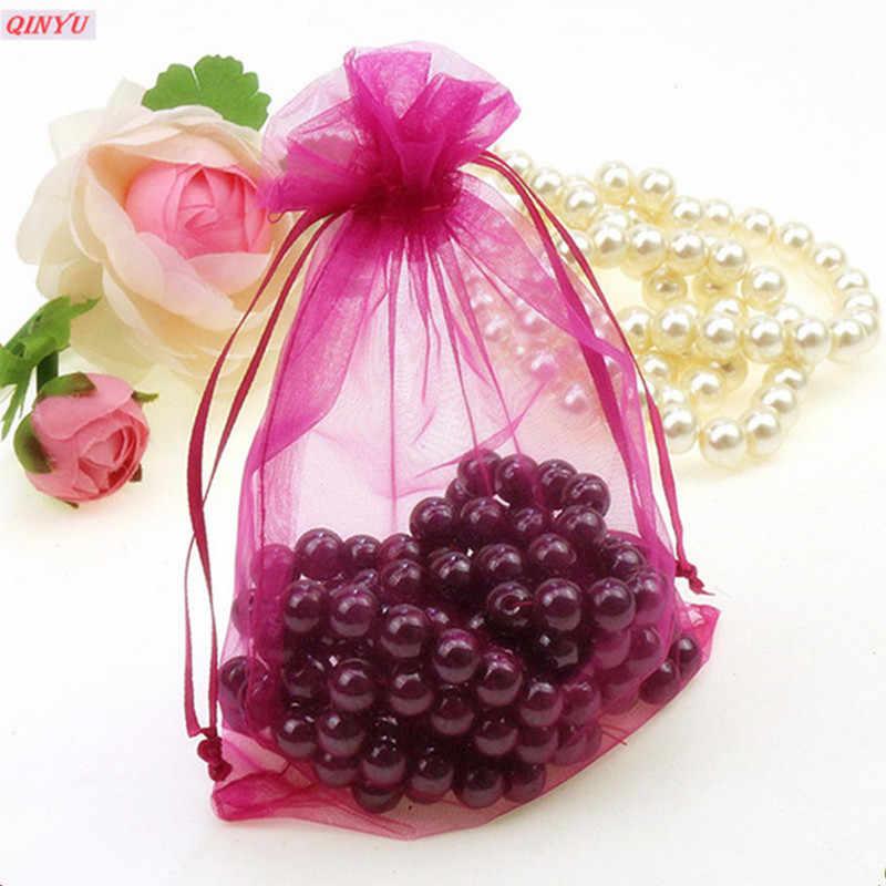 50 قطعة الأورجانزا حقائب للهدايا حقائب مجوهرات التعبئة Drawable 7x9 9x12 10x15 11x16 13x18 الكيس الأورجانزا ل الزفاف/بالتواصل ديكور 5z