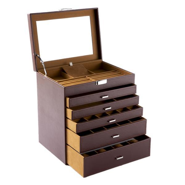 5 Storey Luxury Jewelry Box With MIRRO Necklaces Earrings Sunglasses Bracelets Watches Etc Black Brown