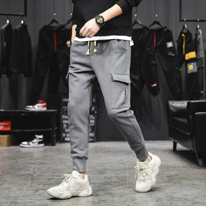 New Style Ankle Banded Pants Men Hip Hop INS Bib Overall Popular Brand Pants Trend Capri Athletic Pants Loose Casual Pants